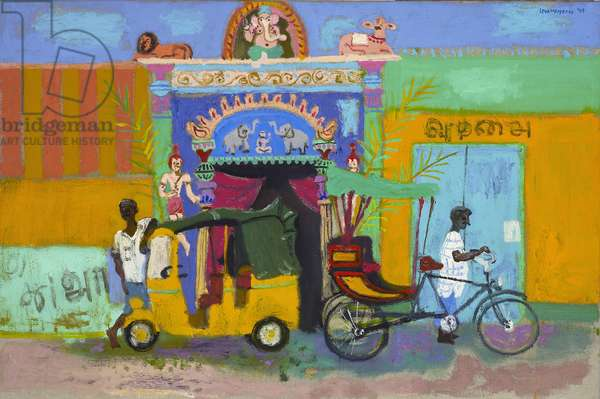 Waiting for a fare ouside the temple, Madurai (oil on canvas)
