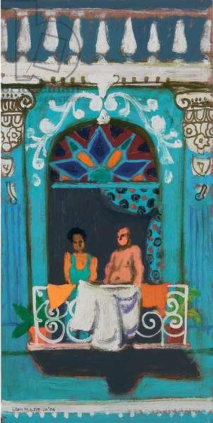 Couple on a Balcony (oil on canvas)