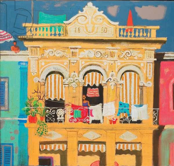 Washing on a Balcony, Paseo Prado (oil on canvas)