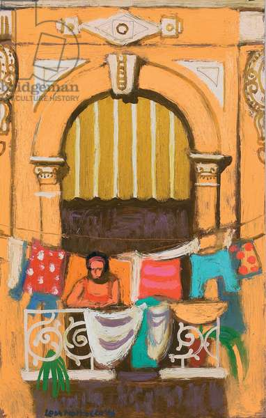 Leaning on the Balustrade (oil on canvas)