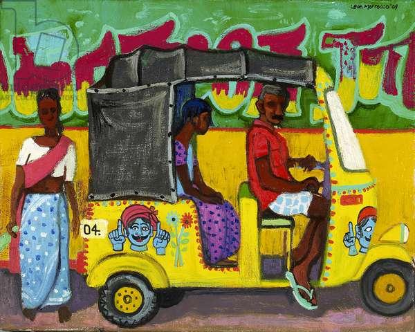 Taxi, Madurai, 2009 (oil on linen)