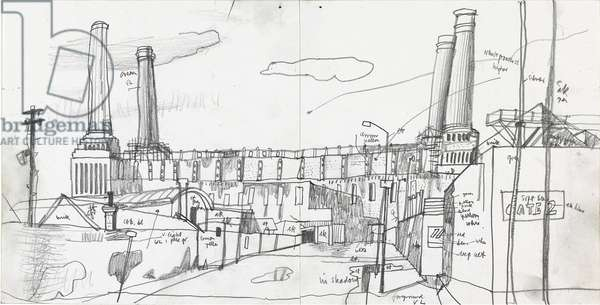 Study of Battersea Power Station, (pastel and pencil on paper)