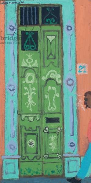 Walking past a Door, Old Havana (oil on canvas)