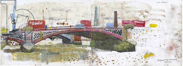 Traffic across Blackfriars, (pastel and pencil on paper)