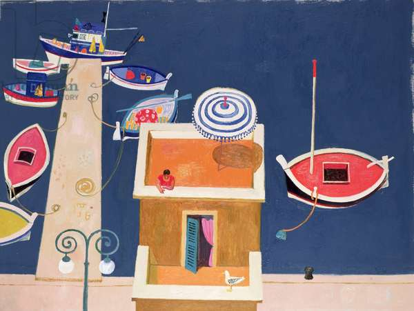 Harbour House and Red Boat, Corsica (oil on canvas)