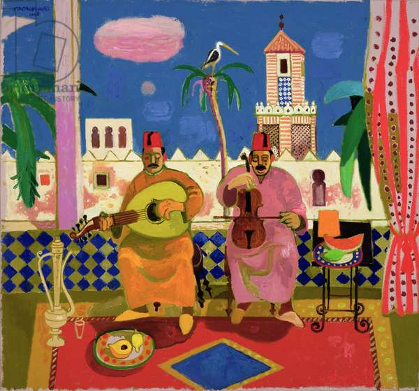 Two musicians at the Sultan's Palace, Tangier, 2001 (oil on canvas)
