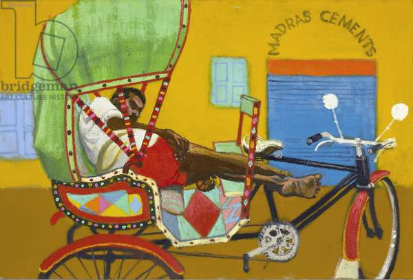 Sleeping rickshaw driver, Chennai (oil on canvas)