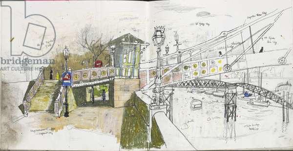 Albert Bridge, North side (pastel and pencil on paper)