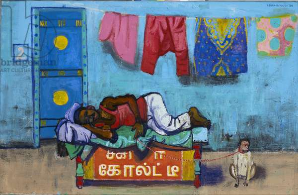 Man sleeping outside his house, 2009 (oil on canvas)