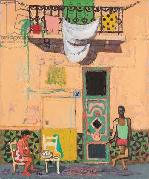 Selling Eggs, Old Havana (oil on canvas)