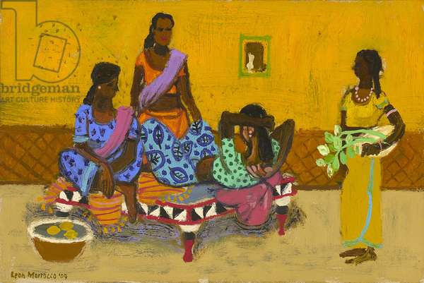 Reclining women outside Crawford Market, Mumbai (oil on panel)
