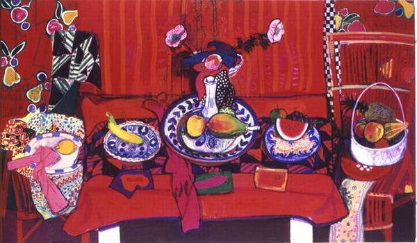Red Still Life, 1986 (gouache and pastel on paper)