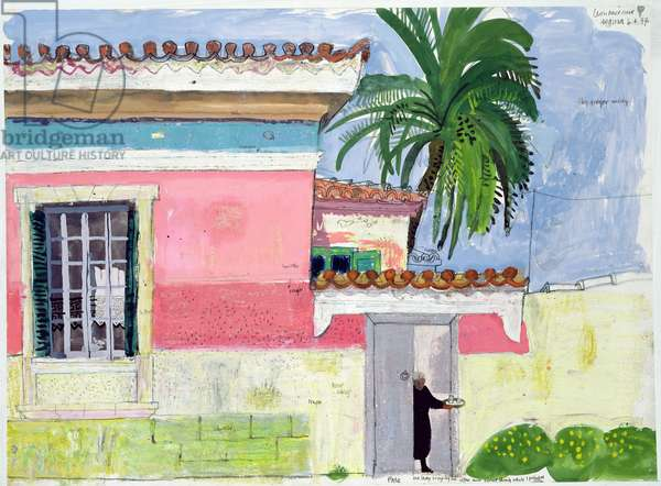 Bringing out the Ouzo, 1997 (gouache, pencil and pastel on paper)