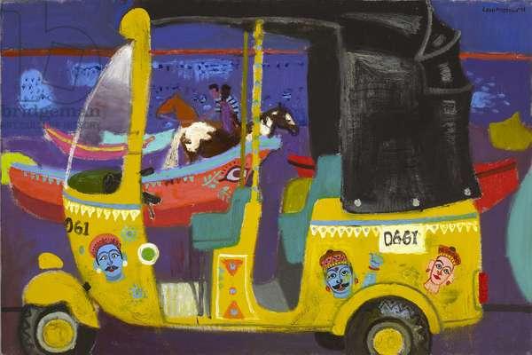Rickshaw at nightfall, Marina Beach (oil on canvas)