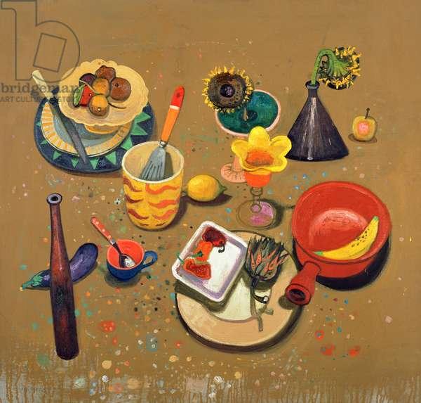 Still Life on Studio Floor, 2001 (oil on board)