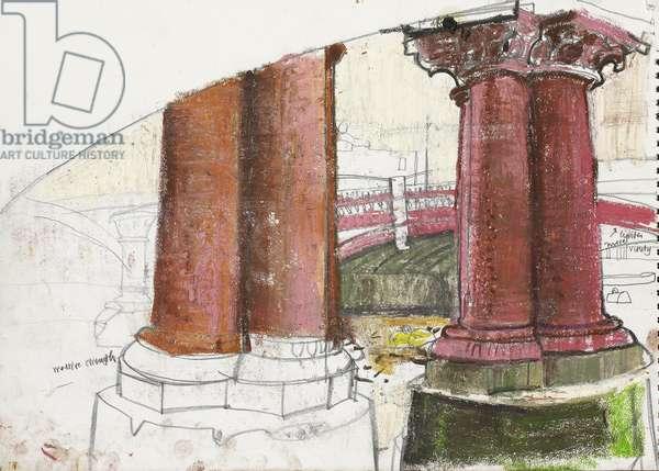 Columns Study old Blackfrairs Bridge, (pastel and pencil on paper)