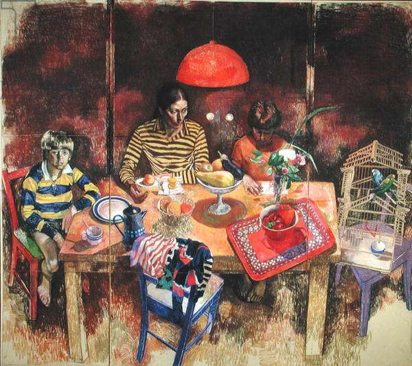 The Artist's Family, 1982 (pastel on paper)