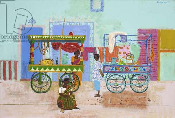 Two Stalls, Madurai (oil on canvas)