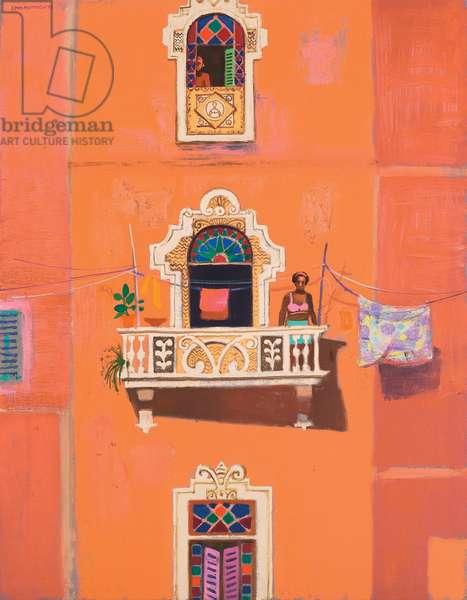 Three Apartment Windows (oil on canvas)