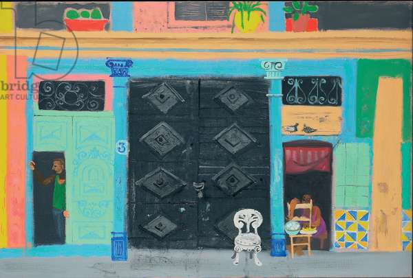 Woman selling Eggs, Calle Acosta (oil on canvas)