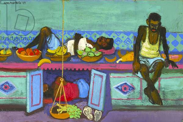 Resting market-workers, Mumbai, 2009 (oil on canvas)