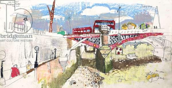 Blackfriars Bridge, (pastel and pencil on paper)