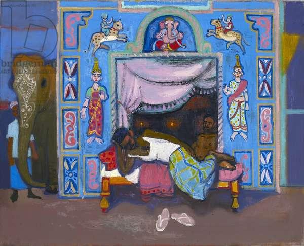 Sleeping temple attendant, Madurai (oil on canvas)