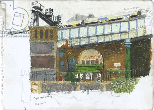 Rail Arches at Borough Market, second, (pastel on paper)