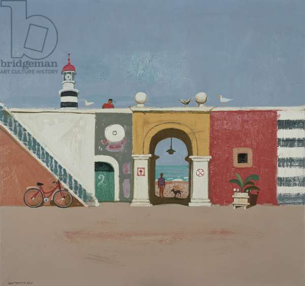 Sea Wall and Lighthouse, 2002 (oil on board)