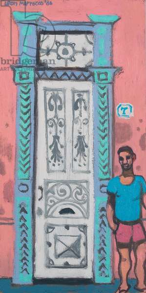 Man and Decorative Door (oil on canvas)