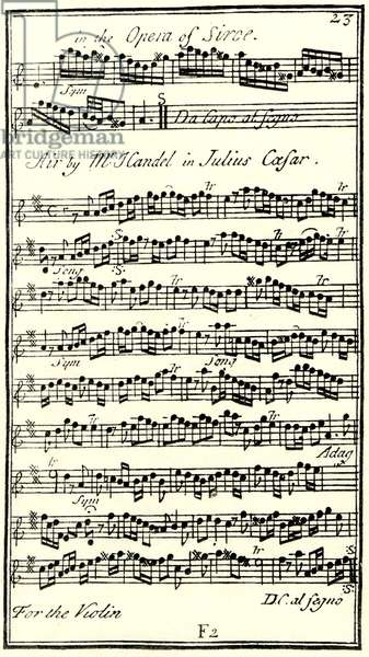 HANDEL - JULIUS CAESAR - /  Giulio Cesare 18th century Score of Violin Obligato from the aria 'Non e si vago' in Handel's opera Julius Caesar