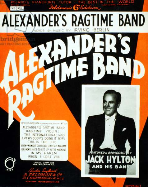 Irving Berlin - Alexander's Ragtime Band score cover (1920s) showing Jack Hylton and his jazz band