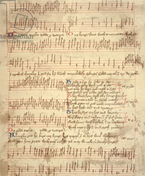 AGINCOURT CAROL manuscript score of anonymous English 15th Century Carol, in 2 and 3 part harmony, in English and Latin