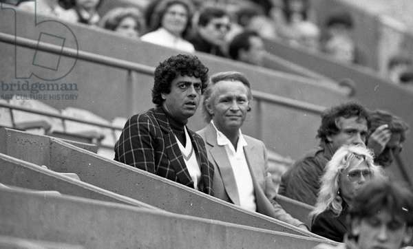 Singer Enrico Macias to the Roland Garros tennis tournament, Paris, France, 1983