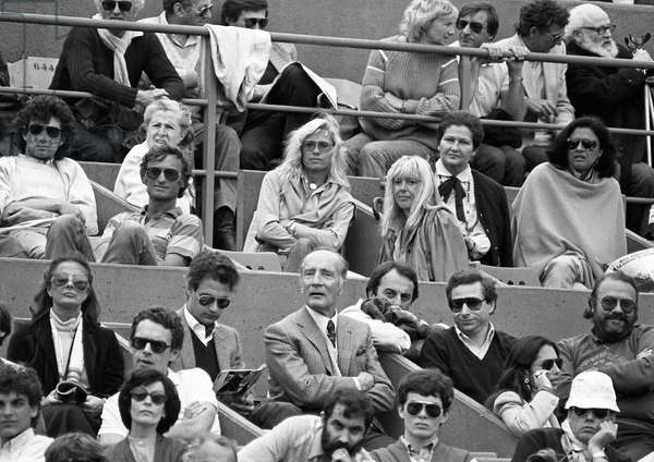 Philippe Mitterrand and Simone Veil during the French Open tennis tournament, Paris, France, 1983