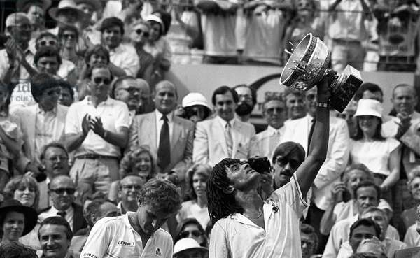 Yannick Noah winning the French Open tennis tournament Roland-Garros with Mat Wilander, Paris, France, may 1983