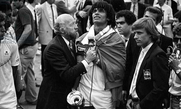 Yannick Noah winning the French Open tennis tournament , Roland-Garros, Paris, France, 1983
