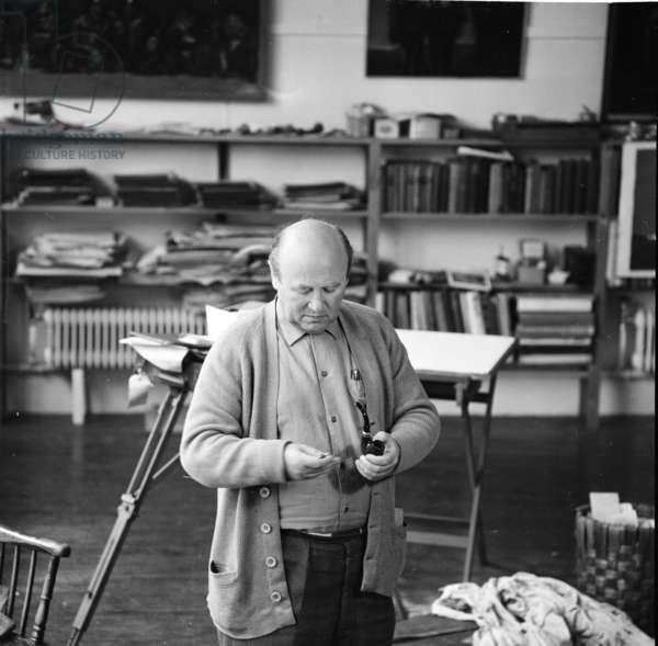 Josef Herman, photographed in his studio, January 1966 (b/w photo)