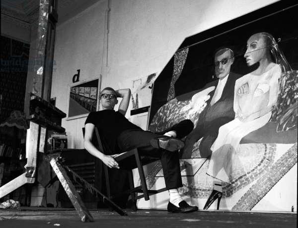 David Hockney (b/w photo)