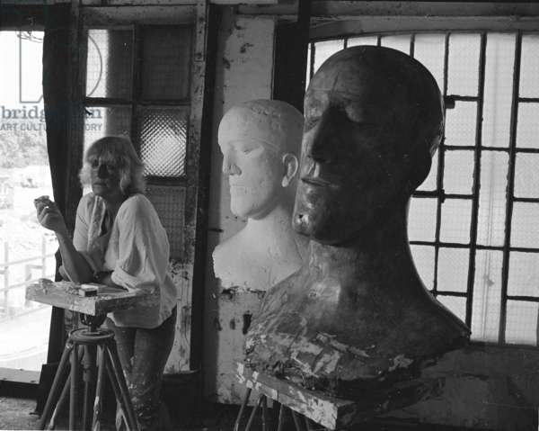 Elisabeth Frink in her studio with the Tributes, 1976 (b/w photo)