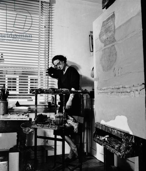 Prunella Clough, 1964 (b/w photo)
