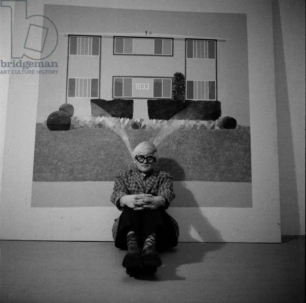 David Hockney, 1968 (b/w photo)