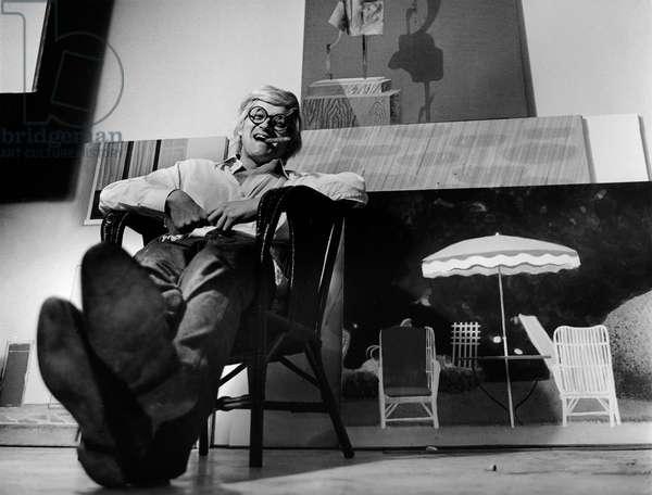 David Hockney, 1972 (b/w photo)