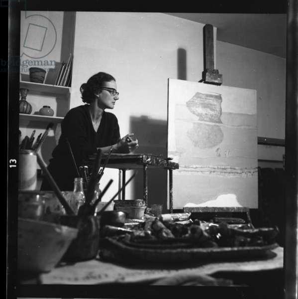 Prunella Clough in her studio, 1964 (b/w photo)