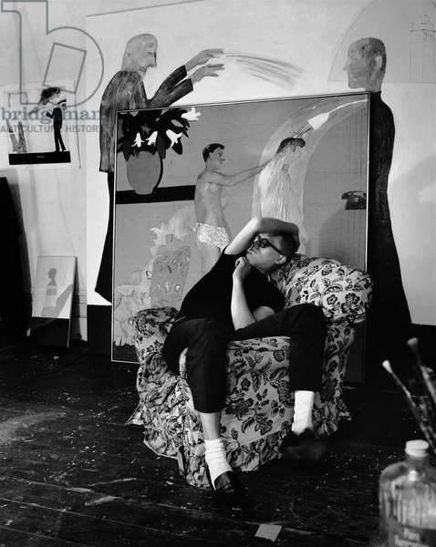 David Hockney, 1963 (b/w photo)