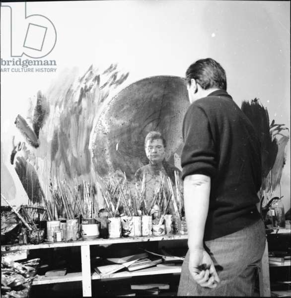 Francis Bacon in his studio, 1963 (b/w photo)