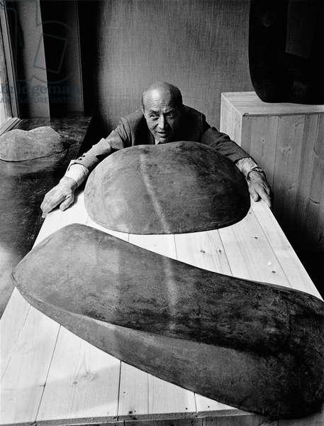 Isamu Noguchi, 1968 (b/w photo)
