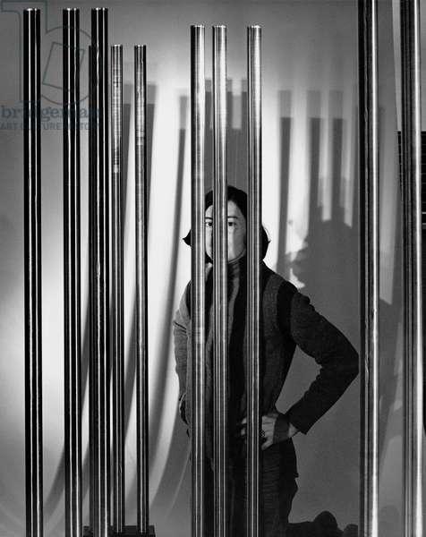 Liliane Lijn, 1977 (b/w photo)