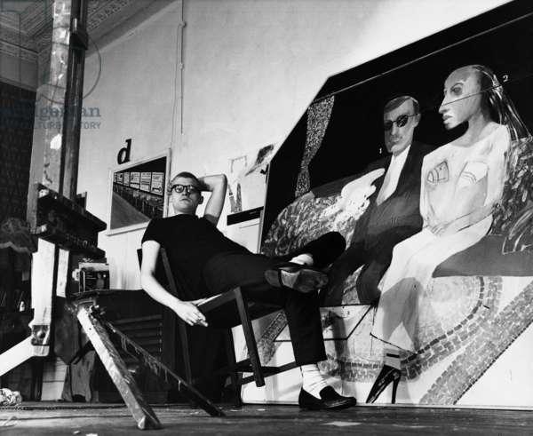 David Hockney, 1963 (b/w photo)
