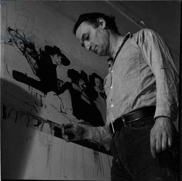 Larry Rivers in his studio, 1964 (b/w photo)